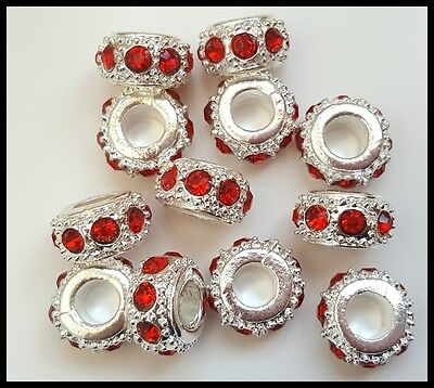 Red Shinny Silver Plated European Style charm beads, craft, jewellery x 12 NEW