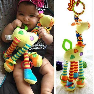 Baby Cartoon Giraffe Hand Bed Bell Ring Hanging Rattle Toy Mobile Plush Infant H
