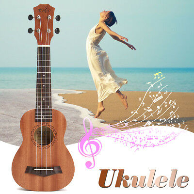 21'' Soprano Ukulele 4 String Sapele Rosewood Brown Acoustic Musical Instrument