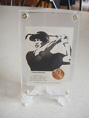 1  Tiger Woods Rare Coin Card - First Green Jacket 1997 With Protector/stand