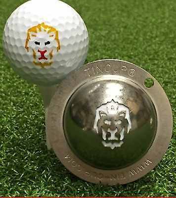 1 only TIN CUP GOLF BALL MARKER - BIG CAT - Tigers, CATS, LIONS  EASY TO DO