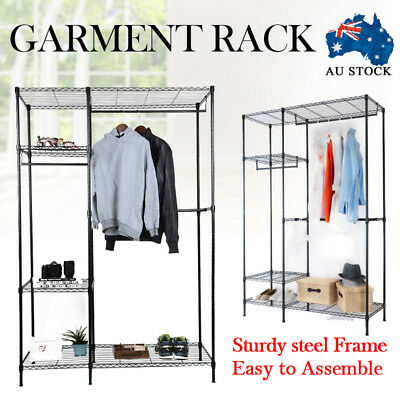 NEW Portable Steel Garment Clothes Storage Rack Hanger Holder Organizer Wardrobe