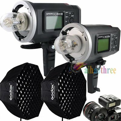 2Pcs Godox AD600B + AD600BM 2x600W High Speed Flash + X1T Trigger + Softbox Kit