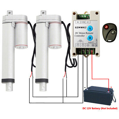 """Heavy Duty 2x8"""" 1000N 220lbs Linear Actuator + Remote Control 12V Electric Motor"""