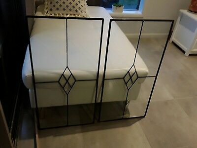leadlight, two panels available, no loose joints, no cracks, clear glass,