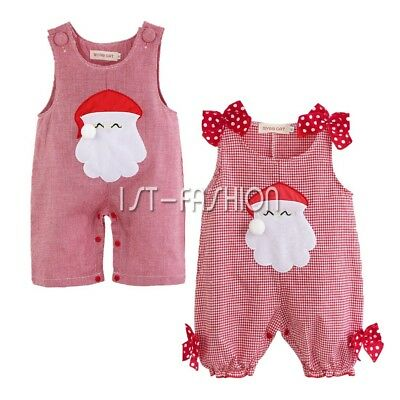 Newborn Baby Boy Girl Christmas Santa Claus Costume Outfit Xmas Romper One Piece