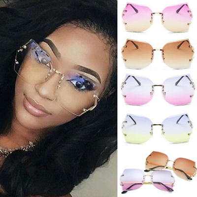 Women Transparent Oversized Eyeglasses Sunglasses Clear Lens Rimless Glasses New