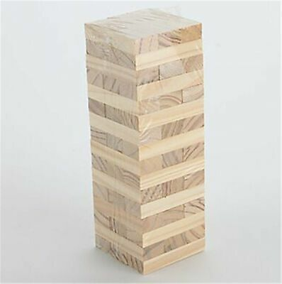 Kids Jenga Game Wooden Blocks Natural Colourful Stacking Tower Tumbling Blocks