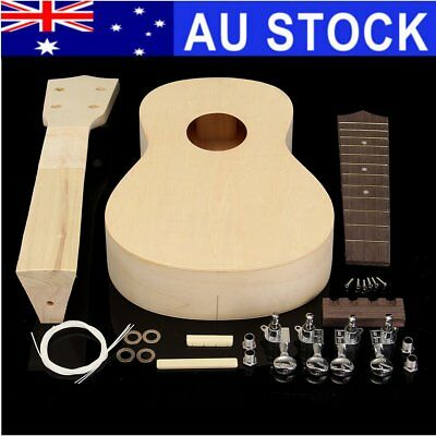 21'' DIY Ukulele Soprano Hawaiian Guitar Uke Kit White Wooden Musical Instrument