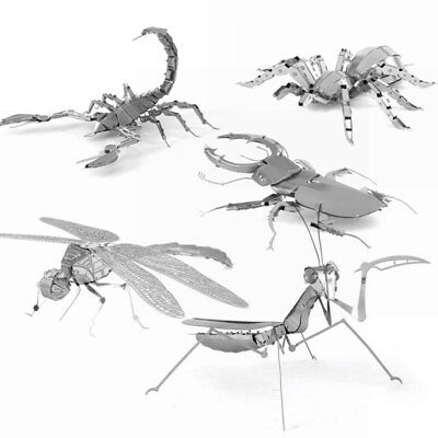 Patch Puzzle 3D Metal Insect Cut Model DIY Educational Assembly Silver