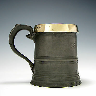 Edwardian Pewter Pint Tankard With Brass Rim c1910