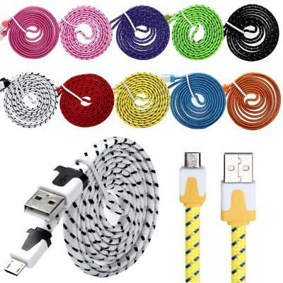 10PCS 1M Braided Micro USB Charge Cable For Galaxy S7 Edge Android Charger