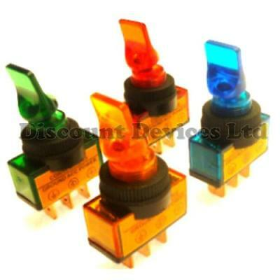 12V DC Illuminated Car Van Lorry Boat Dashboard Toggle Switch With LED Light