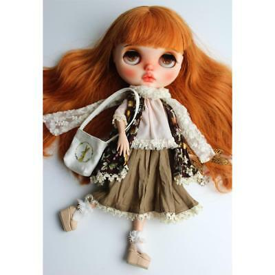 Cute Bowknot Shirt w/ Lace & Long Dress Outfit for 12'' Takara Blythe Dolls