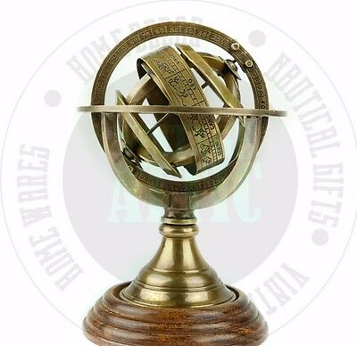 New Vintage Solid Brass Nautical Brass Armillary Sphere With Antique Wooden Base