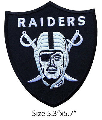 """Oakland Raiders Football Big Size 5.3"""" Embroidered Iron On Patch."""