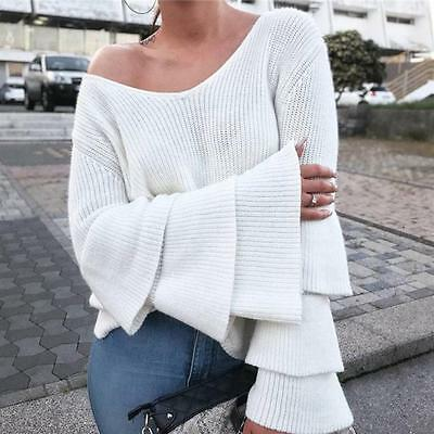 Women's Long Sleeve Knitted Pullover Loose Sweater Jumper Tops Knitwear Blouse