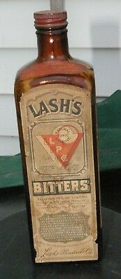Antique Lash's Bitters Glass Embossed & Paper Label 18% Alcohol  by volume