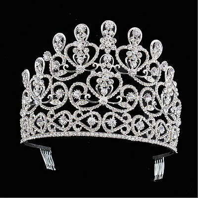 10cm High Adult Large Crystal Wedding Bridal Party Pageant Prom Tiara Crown Comb
