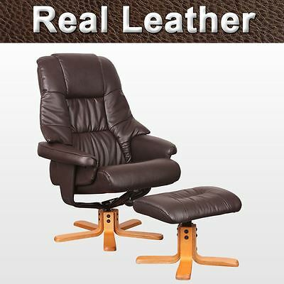 SORENTO REAL LEATHER BROWN SWIVEL RECLINER CHAIR w FOOT STOOL ARMCHAIR OFFICE