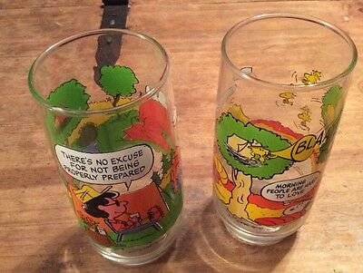 Lot Of 2 NICE Vintage McDonald's Peanuts Glasses! Charlie Brown Camp Snoopy Cups