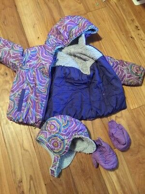 PATAGONIA Girls HONEY PUFF Reversible Hooded Jacket Coat Sz. 5T W/Gloves and Hat
