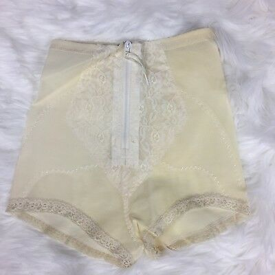 Vintage Playgirl Lace Girdle Panties with Zipper Front Extra Control Ivory Large