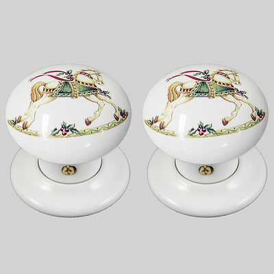 pair China//Porcelain Mortice Door Knob White With Chantilly Bird Design 60mm