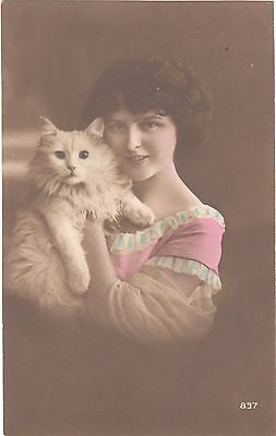 Vintage Postcard Cat Kitten Pretty Girl Glamour Rp