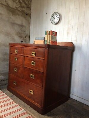 Victorian Mahogany Merchants Chest Of Drawers With Brass Campaign Handles