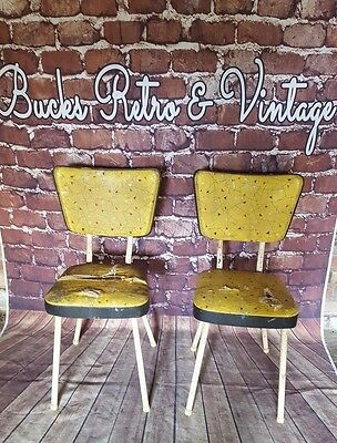 Vintage Retro Industrial Kitsch 1960S 1970's Pair Metal Frame Dining Chairs Seat
