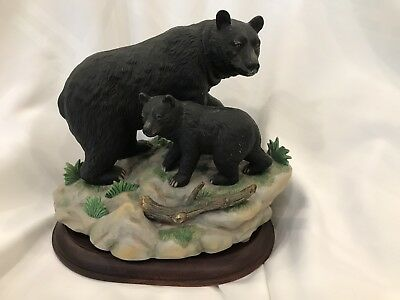 "Masterpiece Porcelain Black Bear ""Watching Her Cub"" by HOMCO"