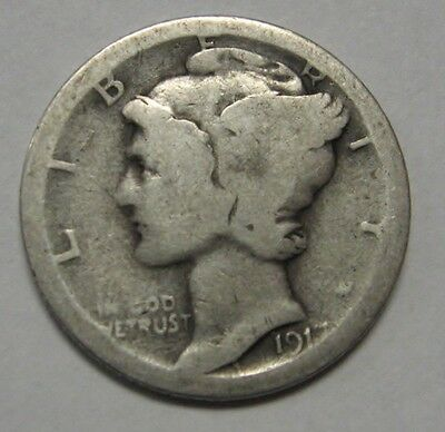 1917-S Mercury Head Silver Dime Grading in the AG/GOOD Range Nice Original Coins