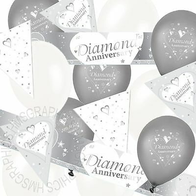 Diamond Wedding 60th Anniversary Bunting Banner White Balloons Party Decorations