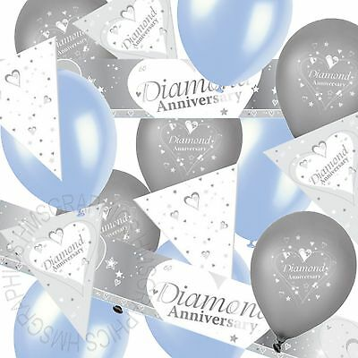 Diamond Wedding 60th Anniversary Bunting Banner Blue Balloons Party Decorations