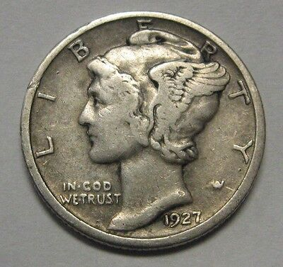 1927-D Mercury Head Silver Dime Grading in the VF Range Nice Original Coins