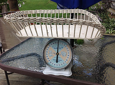 Antique white wicker Baby Scale 30lb American Family Nursery
