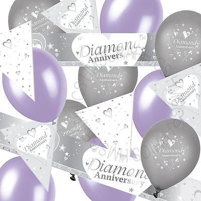 Diamond Wedding 60th Anniversary Bunting Banner Lilac Party Balloons Decoration