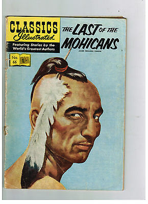 CLASSICS ILLUSTRATED COMIC No. 66 Last of the Mohicans 1/3 HRN 129
