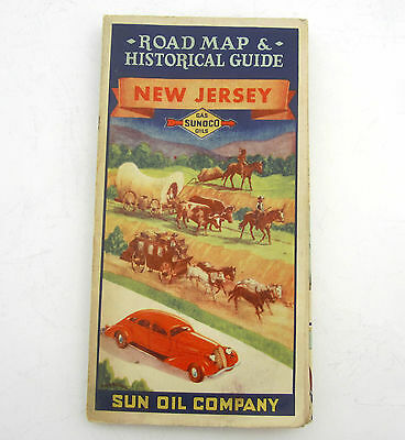 Vintage 1936 Sunoco (Sun Oil Company) New Jersey & NYC Road Map Historical Guide