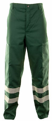 Bottle Green Ballistic Nylon Patch Cut Resistant Work Trouser Hi Viz Vis Stripes