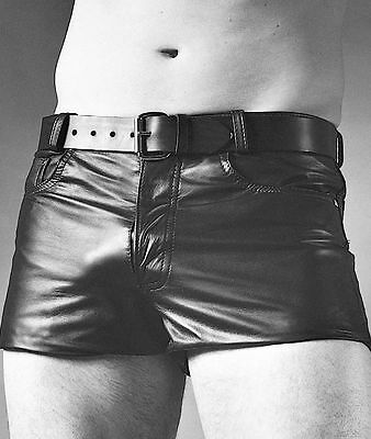 New Genuine Leather Jeans Style Short Shorts Five pockets Lined Mens