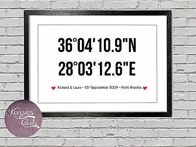 Anniversary gift personalised wedding coordinates first 1st anniversary VA021