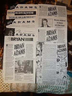 BRYAN ADAMS  singer Fanclub newsletters from the 80's with photos