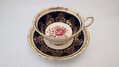 Paragon A 4750 / 8 Cobalt Blue & Gold Large Rose w/ Florals Cup & Saucer Set