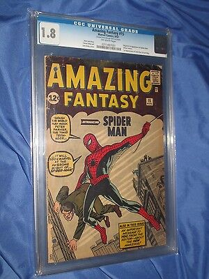 AMAZING FANTASY #15 CGC 1.8 ~1st Appearance of Spiderman 1962 UNRESTORED