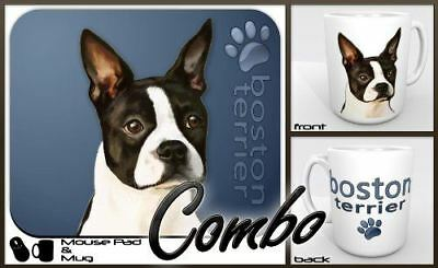 "Boston Terrier ""for Dog Lovers Only"" Mouse Pad and Mug Combo Set (blue)"