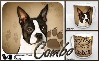 "Boston Terrier ""for Dog Lovers Only"" Mouse Pad and Mug Combo Set"