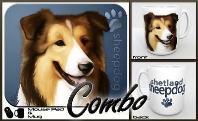 "Shetland Sheepdog ""for Dog Lovers Only"" Mouse Pad and Mug Combo Set (blue)"