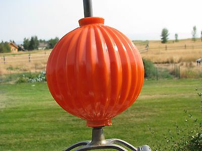 Orange Milk Glass Dated 1877 Ribbed Lightning Rod Ball